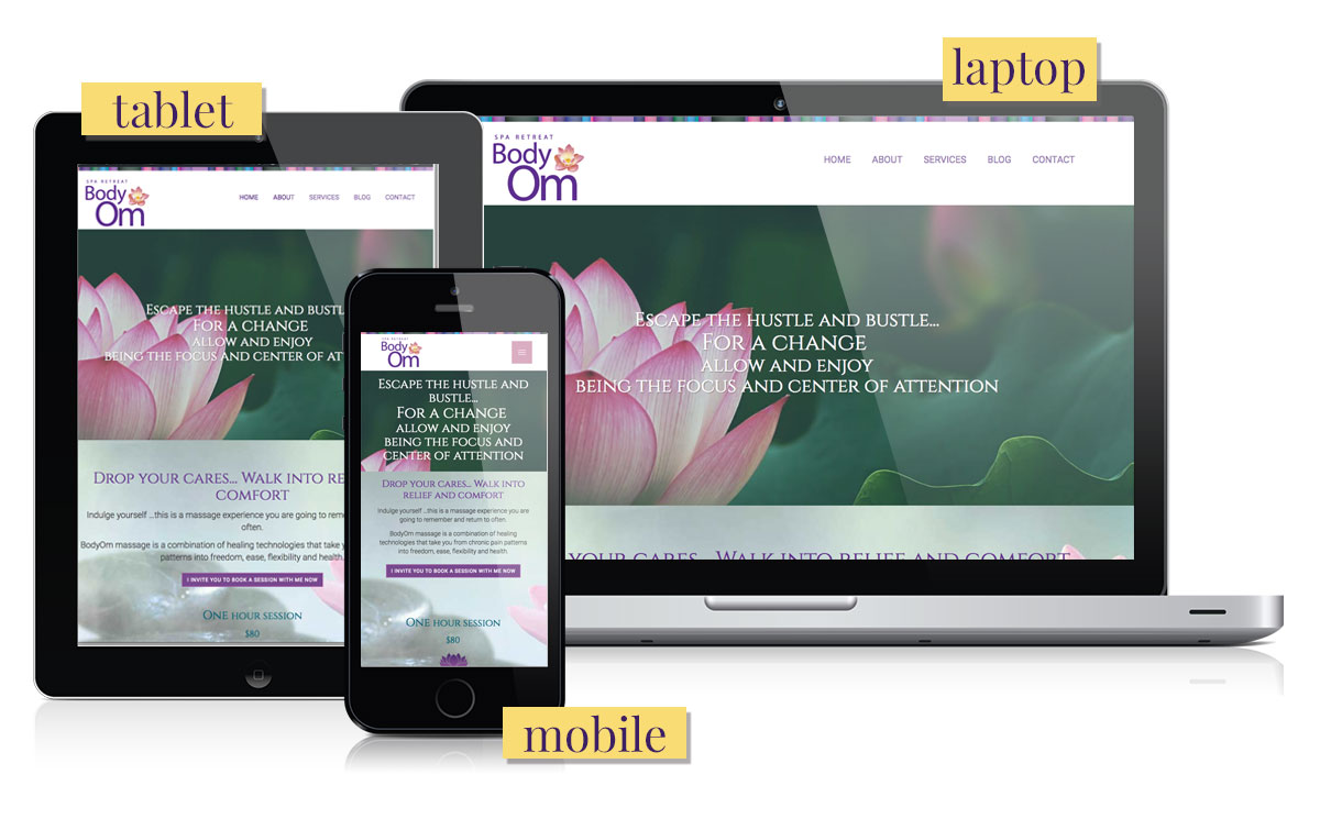 BodyOm Spa Retreat: customized website design by ZoeSnyder.com - Houston, Texas